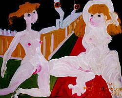 Берлинская стена. (Серия - Хрюкен майн штрасе. Западный Берлин. Картон, масло, 5о-6о, 1977.