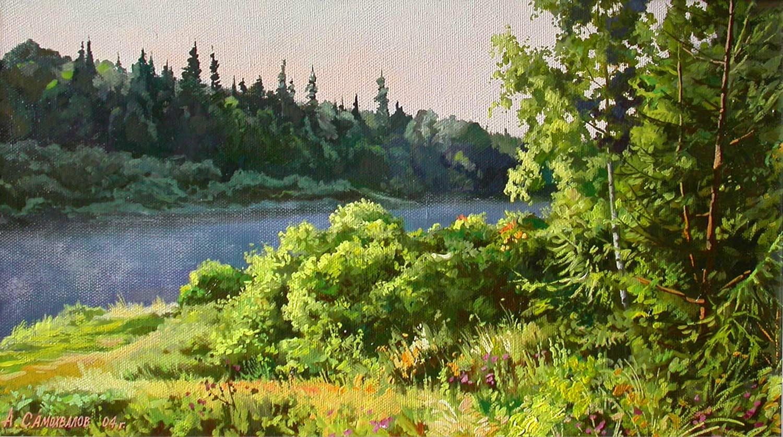 На реке утром