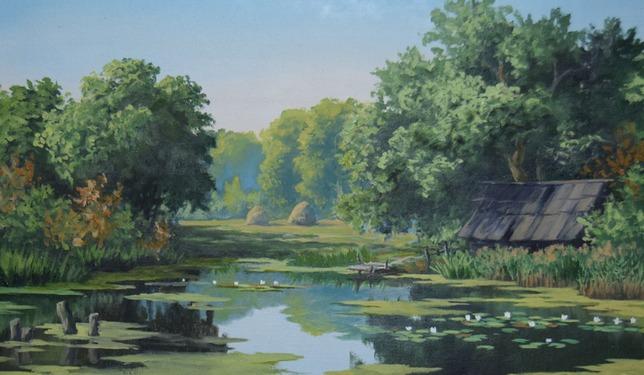 Банька на берегу пруда