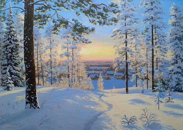 Александр Болотов – Закат в зимнем лесу