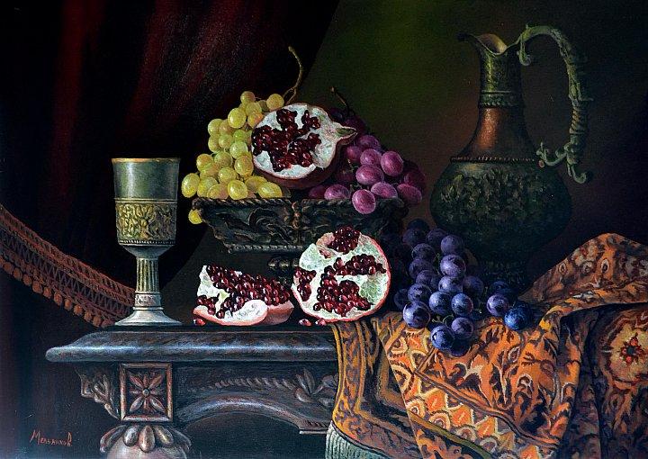 Александр Мельников – Натюрморт с фруктами и вином