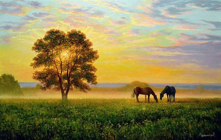 На закате кони пасутся