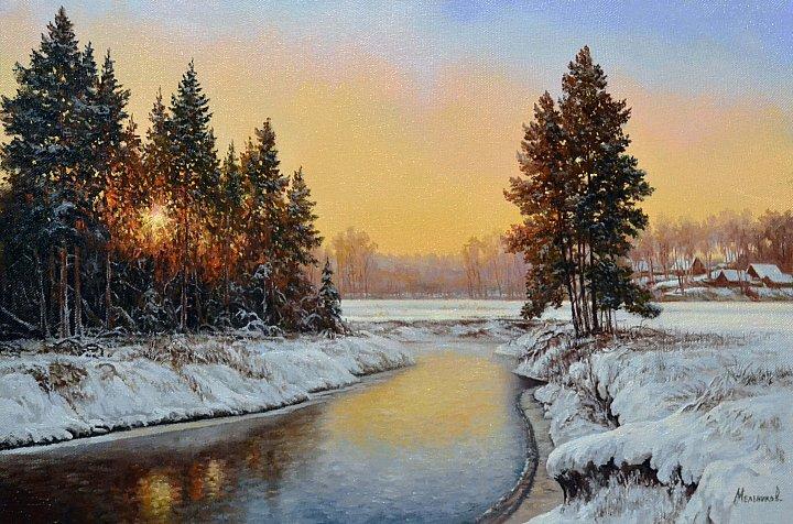 Тонкий лед на реке