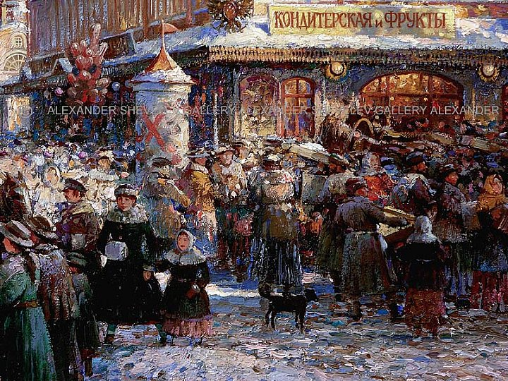 Market on the Red area. A canvas, oil 71, 5 #… ~ Alexandershevelev
