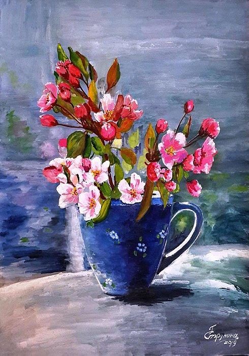 Струнина Галина – Весенний букет в синей чашке