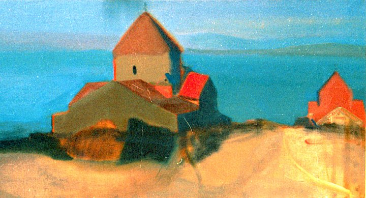 41)Church of Sevan 2004 oil on canvas ~ ARMEN AMIRAGHYAN