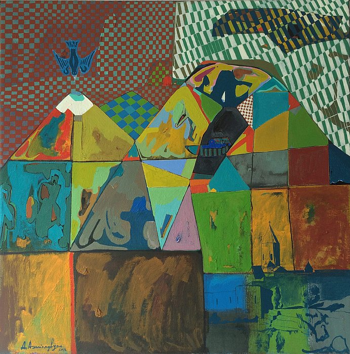 Ararat mountain with Noahs Ark, 2016, oil on… ~ ARMEN AMIRAGHYAN