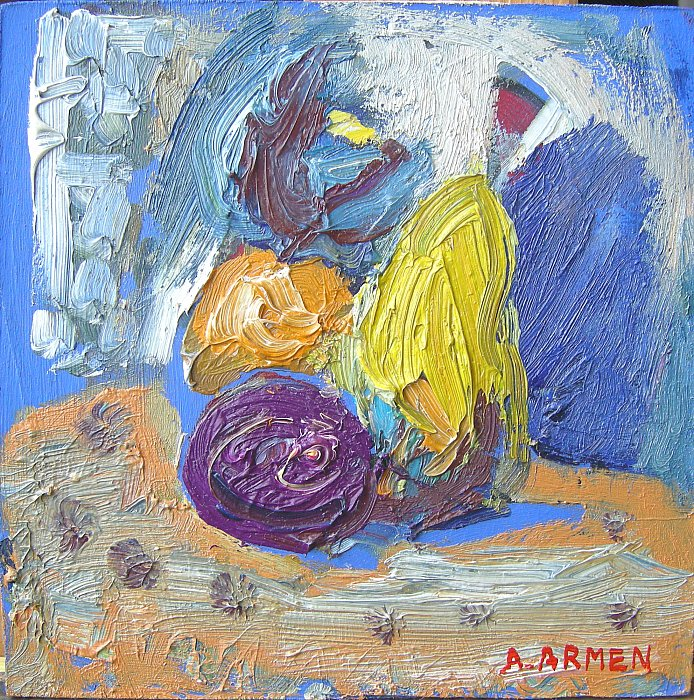 Still life, 2011, oil on cardboard ~ ARMEN AMIRAGHYAN