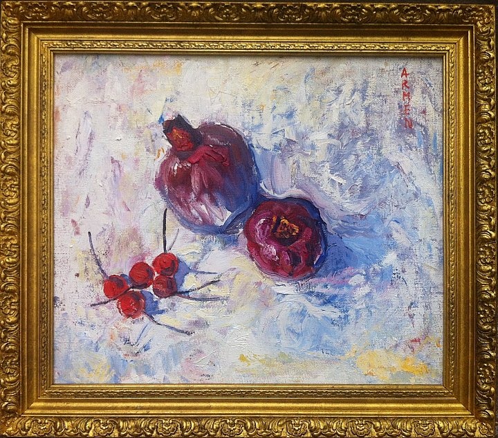 Still life with pomegranate, 2014, oil on can… ~ ARMEN AMIRAGHYAN