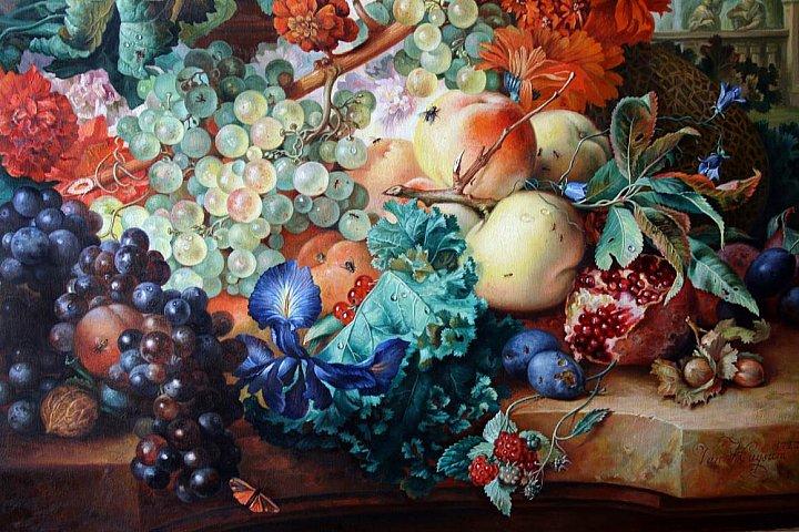 Цветы и фрукты. Фрагмент