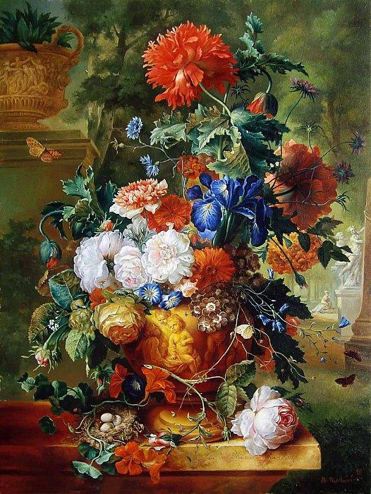 Цветы в рельефной вазе С картины Я.В.Хансум