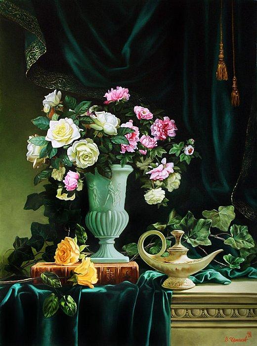 Торжественный натюрморт с нефритовой вазой