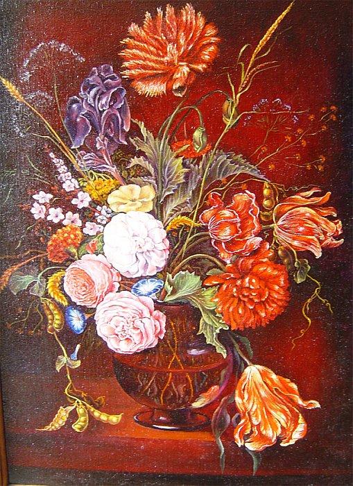 Цветы в вазе вольная копия с работы Яна Давидса де Хема