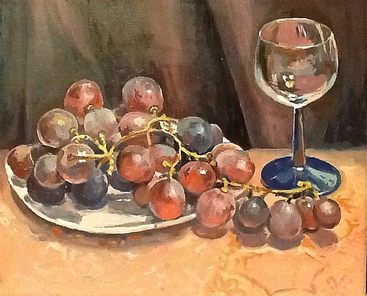 Виноград с бокалом