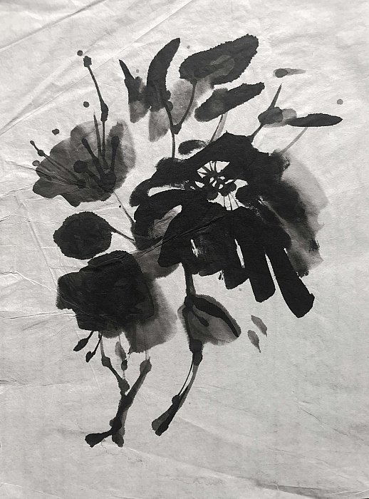 Flowers 2019, 25, 5x35 Ink on rice paper