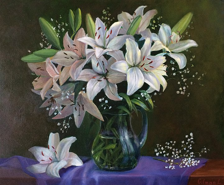 Любовь Гильман – Букет белых лилий на зеленом
