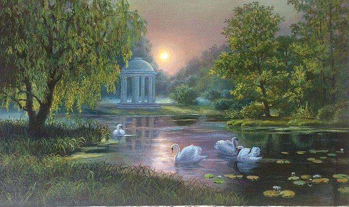 Любовь Гильман – Утро в старом парке.  Копия картины М. Сатарова.