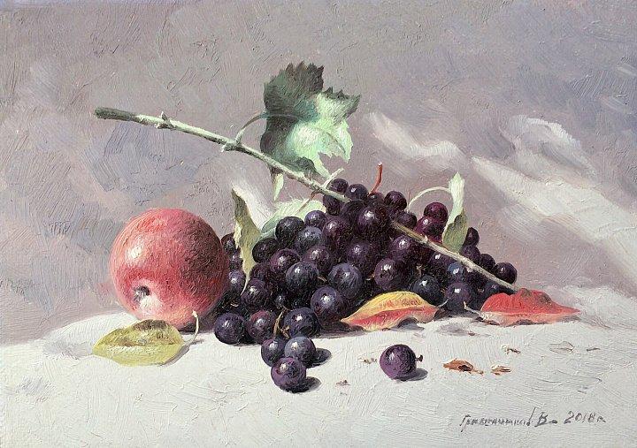 Натюрморт с яблоком и виноградом