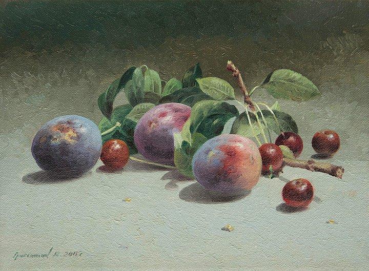 Натюрморт со сливами и вишнями