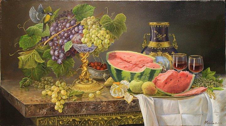 Натюрморт с арбузом и вазой
