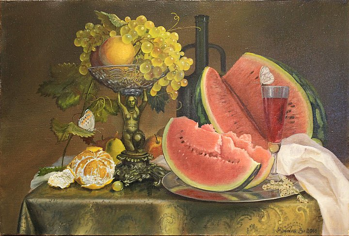 Владимир Куликов – Натюрморт с вазой и виноградом