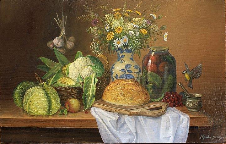 Овощной натюрморт с полевыми цветами