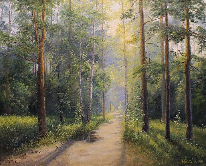 Солнечная дорожка в лесу