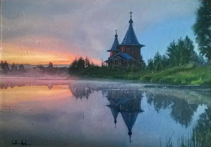 рассвет в деревне Колодозеро