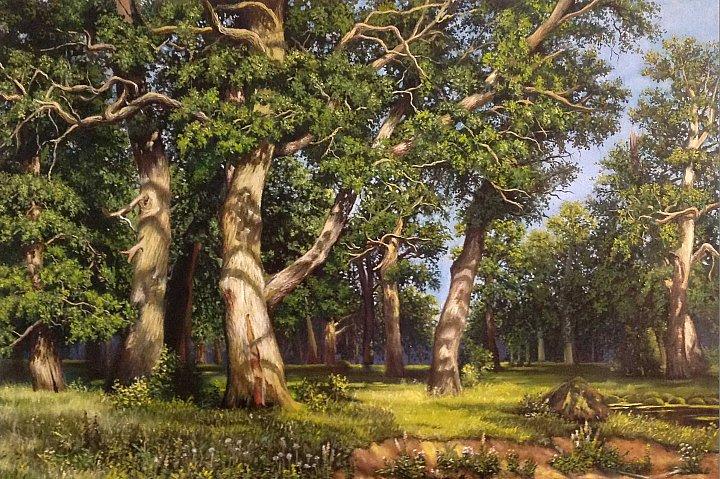 Дубовая роща (свободная копия картины И. Шишкина)