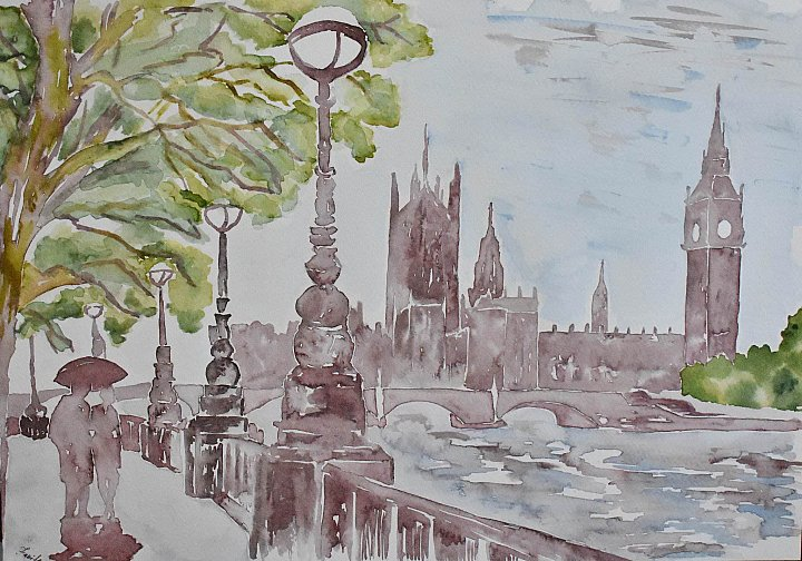 View of The Thames and Parliament in London