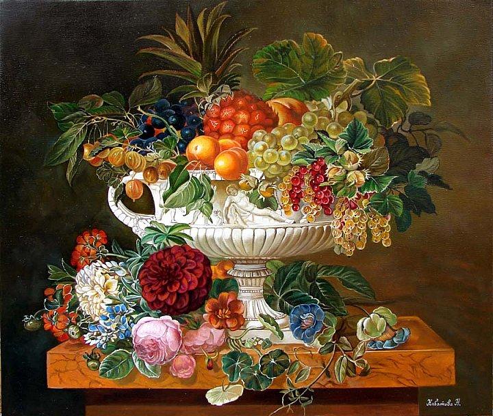 Надежда Кабатова – Натюрморт с ананасом по работе ( Йенсен Иоган Лоренц )