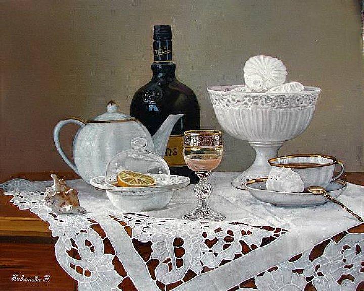 Надежда Кабатова – Натюрморт с * Белиз*  холст масло по фото натюрморту Татьяны Карачковой