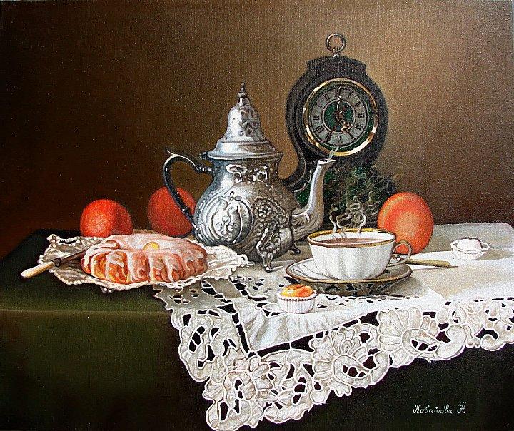 Натюрморт с часами. с фото натюрморта Татьяны Карачковой