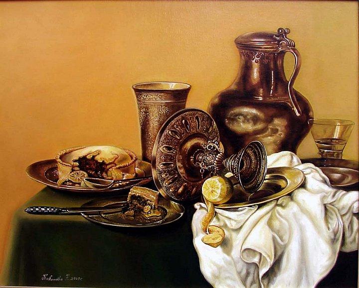 Натюрморт с посудой и черничным пирогом