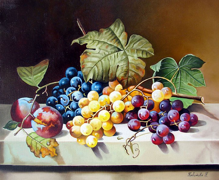 Натюрморт с виноградом по работе старых мастеров