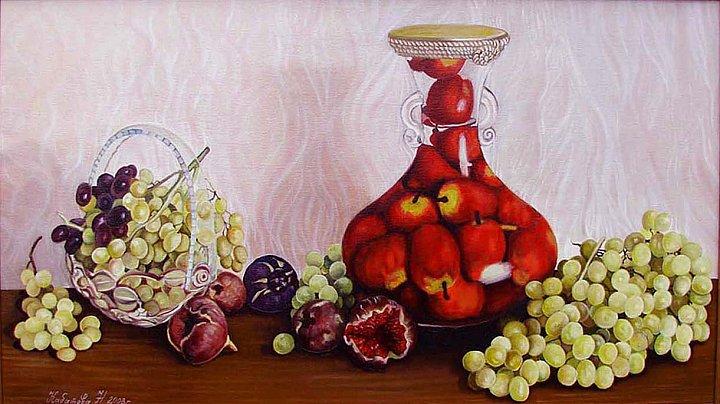 Натюрмортс инжиром и виноградом