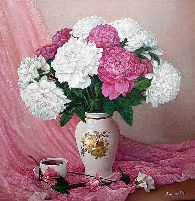 Надежда Кабатова – Пионы на розовом