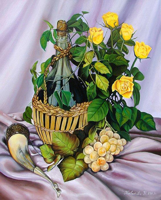 Вино и желтые розы
