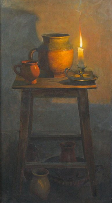 Still-life with candle 100x55 2005 ~ Виктория Харченко