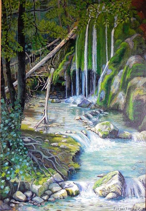 Картина маслом водопад серебряные