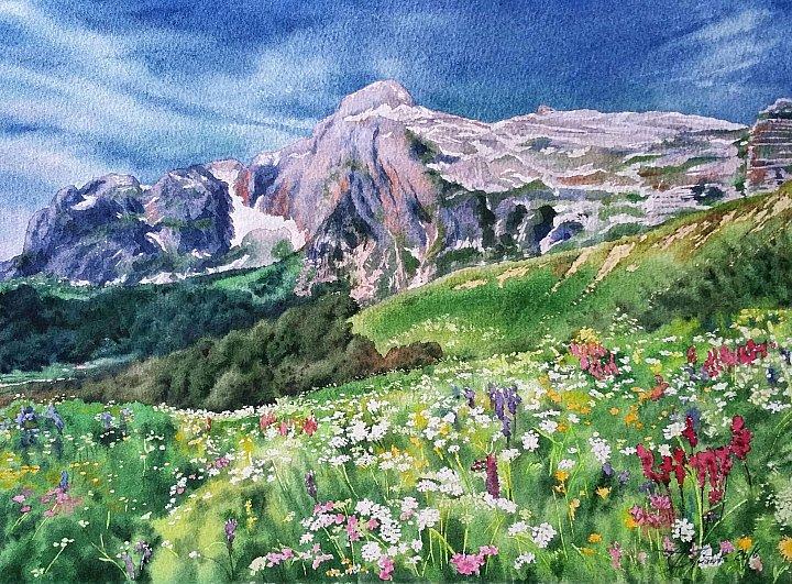 Любовь Титова – акварель Лето в горах
