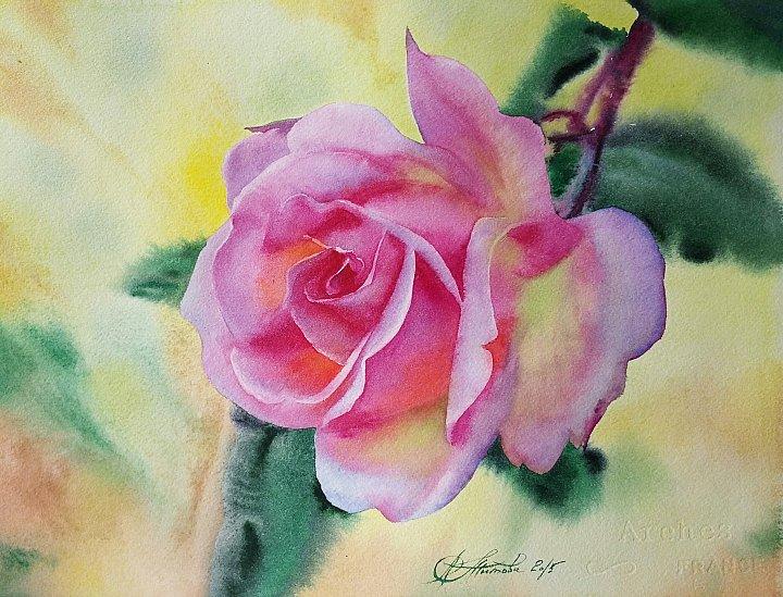 Любовь Титова – акварель Сказочная роза
