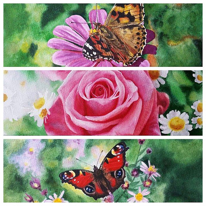 акварельная серия из 3-х картин Летняя