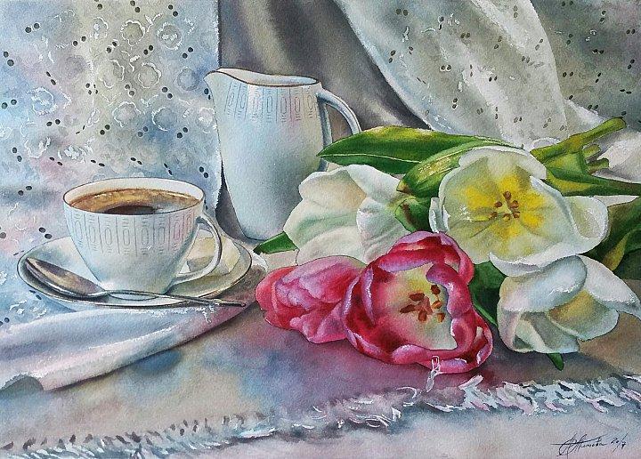 Кофейный натюрморт с тюльпанами