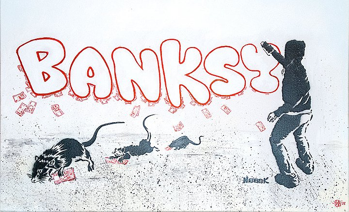 Banksy, money, rats.