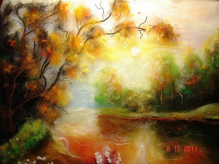 Картины шерстью пейзаж золото осени