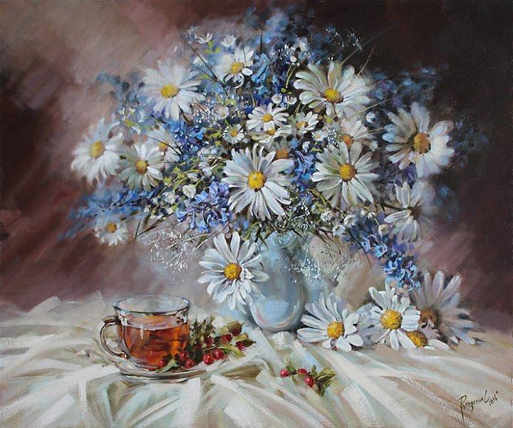 Светлана Рогозина – Летний натюрморт. Ромашки