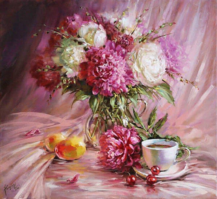 Светлана Рогозина – Розовый натюрморт с пионами