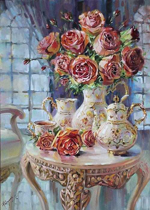 Светлана Рогозина – Розы на сервизном столике для нее