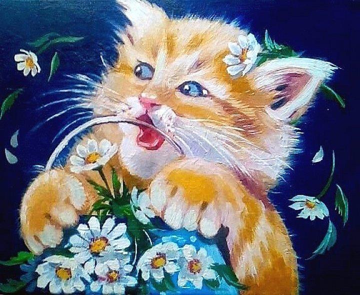Смешной, пушистый,крохотный котенок.  Художник Наталья Лазарченко